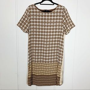 Adrienne Vittadini Brown Patterned Dress